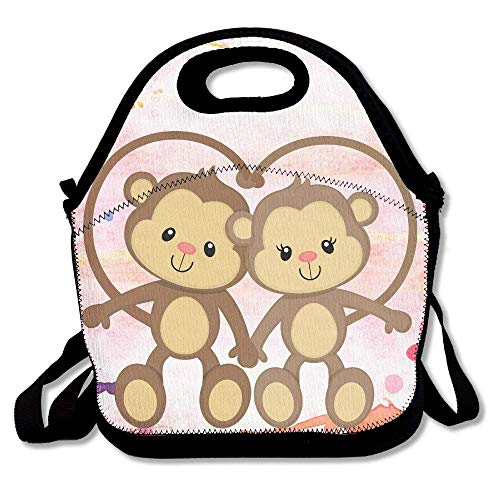 fengxutongxue The Monkeys Insulated Lunch Bag with Zipper,Carry Handle and Shoulder Strap for Adults Or Kids Black