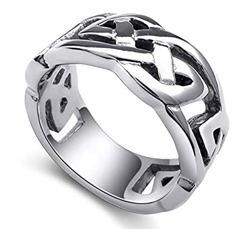 Stainless Steel Rings, Men's Bands Classical Celtic Knot Silver Width 10mm Size Z 1/2 Epinki