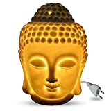 #1: Dn Creation Electric Buddha Head Aromatic Oil Burner Ceramic Aromatherapy Lamp Candle Aroma Furnace Oil Lamp Essential Home Decoration Incense Burner