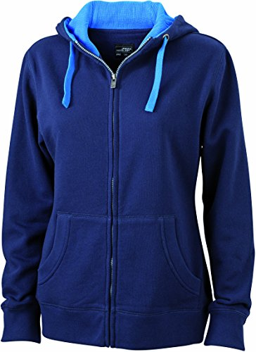 James & Nicholson Damen Lifestyle Zip-Hoody Sweatshirt, Blau (Navy/Cobalt), 38 (Herstellergröße: L) (Sweatshirt Navy Pullover Hoody Blauer)