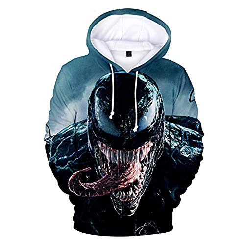 TOOSD Herren Hoodies, Spider-Man Jersey, Venom Sweatshirt, Sports Sweater, Youth Sweatshirt, Unisex Sweatshirt, Casual Sweatshirt,E,XL (Spiderman-venom-hoodie)