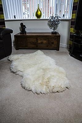 White Cream XXL British 100% Genuine Natural Sheepskin Fur Rug - low-cost UK light store.