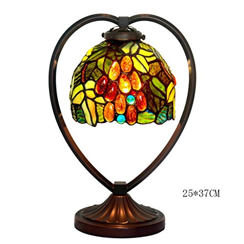 C&L Lampe de table à couture en verre, rétro chambre à coucher Lampe de chevet Bureau d'étude Couleur Verre Décoration Lampe de table en fer Simple tête E27, 25 * 37cm (Couleur : B)