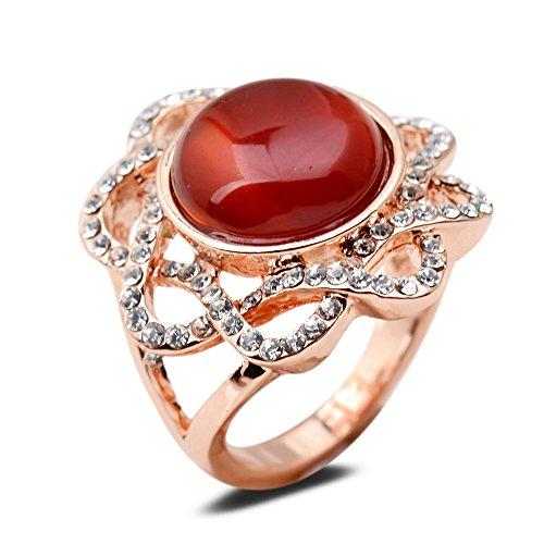 Yazilind Round Cut Red Imitation Jade klare Zirkonia Blume Rose Gold Plated 18,8 Ring für Frauen Mädchen (Gold-plated Jade Und Diamant-ring)
