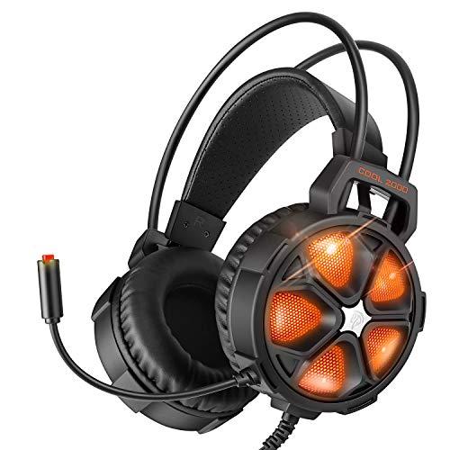 EasySMX Headset für PS4 / Xbox One, mit LED-Beleuchtung, 3,5 mm, Stereo, Headset mit Mikrofon für PC