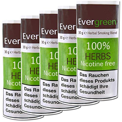 5 X Bio Kräuter Natur Räuchermischung 100% frei von Nikotin und Tabak, reichhaltig, aromatisch, feines Aroma und angenehmer, weicher Geschmack, 5 PACK Evergreen Tabakersatz 150g total