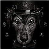Wallario Glas-Uhr Echtglas Wanduhr Motivuhr • in Premium-Qualität • Größe: 30x30cm • Motiv: Eleganter Hund mit Zylinder in schwarz-weiß