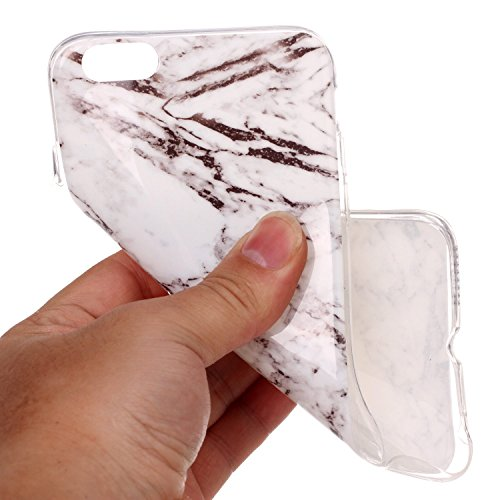 iPhone 6S Plus Hülle,iPhone 6 Plus Hülle,ikasus® TPU Silikon Hülle Schutz Handy Hülle Case Tasche Etui Bumper Crystal Case Hülle für Apple iPhone 6S Plus / 6 Plus (5,5 Zoll) Glänzende Marmor Textur Mu WeißSchwarz Marble
