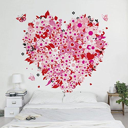Apalis Vliestapete Blumentapete Floral Retro Heart Fototapete Quadrat | Vlies Tapete Wandtapete...