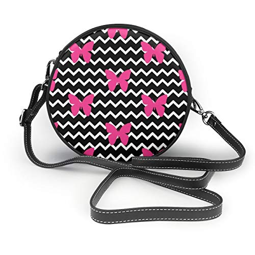 lack Chevron Hot Pink Butterfly PU Leather Shoulder Bags,Tote Satchel Messenger Bags ()