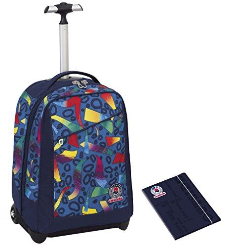 Trolley invicta + cartellina a4 - multicolore mix - blu rosso - spallacci a scomparsa! zaino 35 lt scuola e viaggio