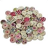 Hosaire 100x Holz Knopf / Knöpfe Für Nähen Und Basteln Handwerk,Zufällige Farbe