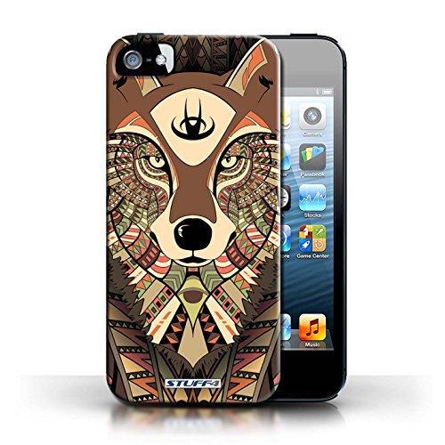 Etui / Coque pour Apple iPhone 5/5S / Loup-Couleur conception / Collection de Motif Animaux Aztec Loup-Sépia