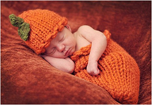 Fotografie Prop Halloween-Kürbisse Strick Crochet Kostüm Hat (Si Kostüme)