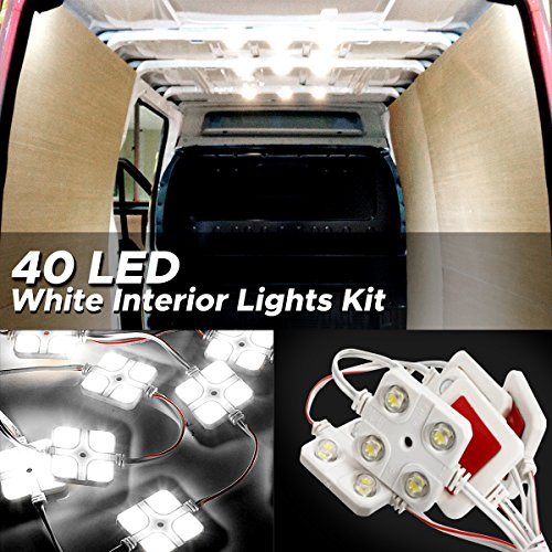 Audew LED Auto Innenbeleuchtung Auto Innenraumbeleutung Lampe Interior Licht 10×4 Leseleuchte LED Panel Kits Weiß 12V