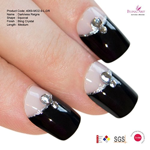 Art bling faux ongles manucure française Cristal Noir Full Cover Moyen Conseils UK