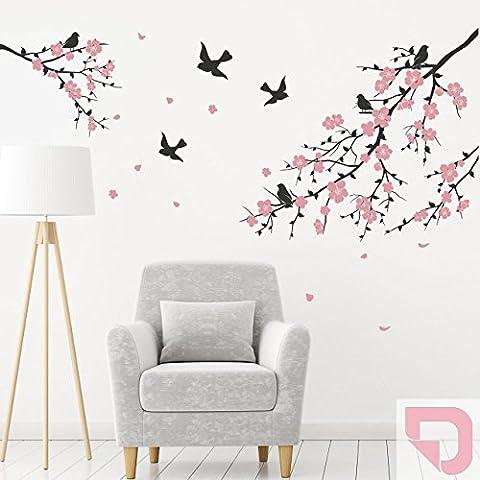 DESIGNSCAPE® Wandtattoo Ast mit Blüten und Vögel 120 x 85 cm (Breite x Höhe) Farbe 1: pastell-rosa