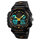 Amstt Unisex Sportuhren Digital Uhr Herren Damen Jungen Armbanduhr Militär Uhren mit Licht Wecker 5ATM Wasserdichten Outdoor Analog Digital Stoppuhr-Gelb