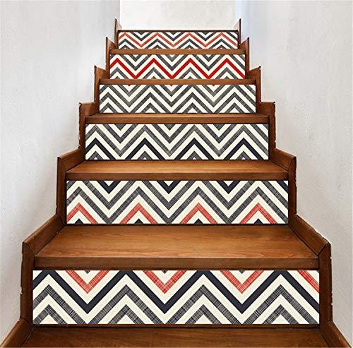 Treppenaufkleber, Einfache Kreative 3D Treppenaufkleber Geometrie DIY Renoviert Treppenaufkleber Selbstklebende Wandaufkleber Wasserdicht 39,3x7,08 Zoll 6 STÜCKE/Set