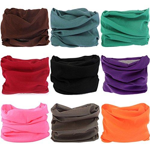 VANCROWN 9& 6mit Kopfbedeckungen, Haarband Schal Tuch Headwrap Maske Neckwarmer & More 12-in-1Multifunktional dehnbar Sport & Casual, 9PC.Solid Color Series.1 Solid Color Serie Headwraps