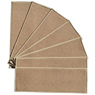 """BERRNOUR HOME Stair 7 Piece Treads Beige Skid Resistant Rubber Backing Non Slip Tread Mats, 9"""" W x 26"""" L"""