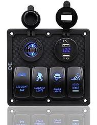 Fxc 4Gang Interrupteur à bascule Panneau avec double port USB et prise de courant 12V-24V pour auto Marine Bateau Remorque & # nitrure; Bleu et Carbide PCB;