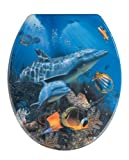 WENKO 19551100 WC-Sitz Sea Life - rostfreie Edelstahlbefestigung, Kunststoff - Duroplast, 38 x 45 cm, Mehrfarbig