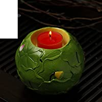 la luce di Buddha/burro/ Supporto di candela di Buddha/Ceramica in rilievo foglie di loto portacandele di Lotus