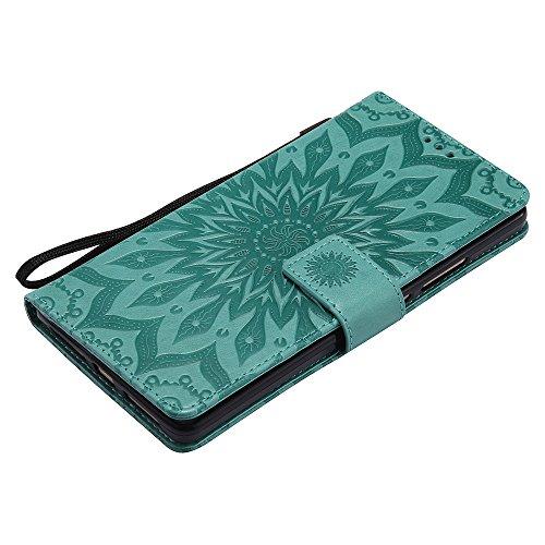Für Huawei Mate 8 Fall, Prägen Sonnenblume Magnetic Pattern Premium Soft PU Leder Brieftasche Stand Case Cover mit Lanyard & Halter & Card Slots ( Color : Blue ) Green