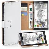 moex Samsung Galaxy Note 3 | Hülle Weiß mit Karten-Fach 360° Book Klapp-Hülle Handytasche Kunst-Leder Handyhülle für Samsung Galaxy Note 3 Case Flip Cover Schutzhülle Tasche