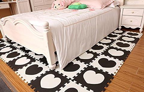 Menu Life 10Noir et Blanc pour enfant bébé d'activité Tapis de jeu en mousse EVA Tapis de jeux puzzle Dalles Pop-out