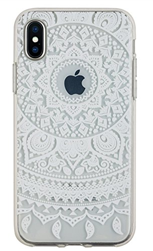 iPhone X Fall, iPhone 10 Fall, 3 cworld Ultra Dünn Transparent Art Muster Kristall Gel TPU Gummi Flexible Slim Haut Soft Case für iPhone X, Mandala Flowers- White
