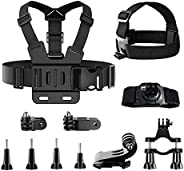TDCQ 11pcs Kit di Accessori per Action Camera,Fascia da Testa per Action Cam,Fascia da Testa per Cellulare,Fas
