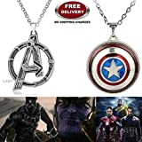 (2 Pcs AVENGERS SET) - AVENGERS SILVER LARGE LOGO & CAPTAIN AMERICA REVOLVING IMPORTED METAL PENDANTS WITH CHAIN. LADY HAWK DESIGNER SERIES 2018. ❤ ALSO CHECK FOR LATEST ARRIVALS - NOW ON SALE IN AMAZON - RINGS - KEYCHAINS - NECKLACE - BRACELET