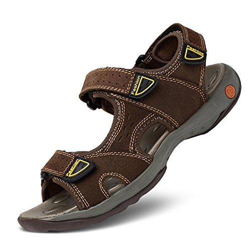 Xing Lin Sandali Estivi Sandali Di Cuoio _ Cantieri Sandali Di Cuoio Uomini Outdoor Toe Sandali Maschio Dark brown