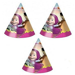 Procos 86566-Gorros de papel de «Masha y el Oso», 6unidades, multicolor