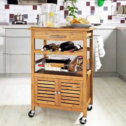 SoBuy Carrito de cocina, estantería de cocina, carrito de servir de bambú de alta calidad L60xP40xA92cm, FKW09-N