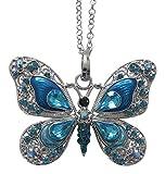 Collar, colgante diseño mariposa azul predominante cristal austríaco y acero.