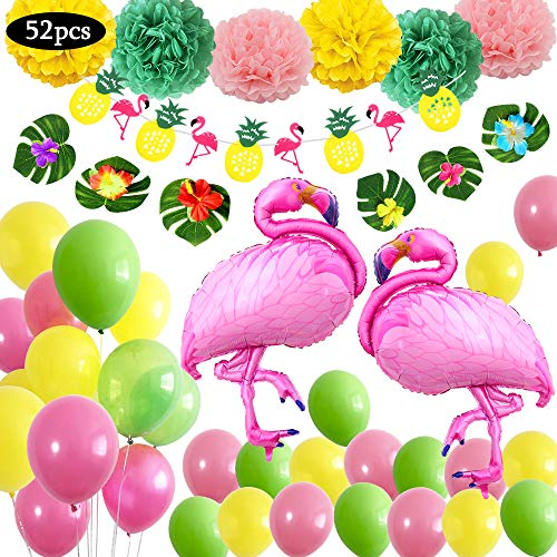 Yansion 51pcs Hawaiian Beach Party Supplies Dekoration, Tropische Sommer Hawai Theme Party Dekorationen mit Riesigen Flamingo Ballons, Latex Ballons und Party Banner