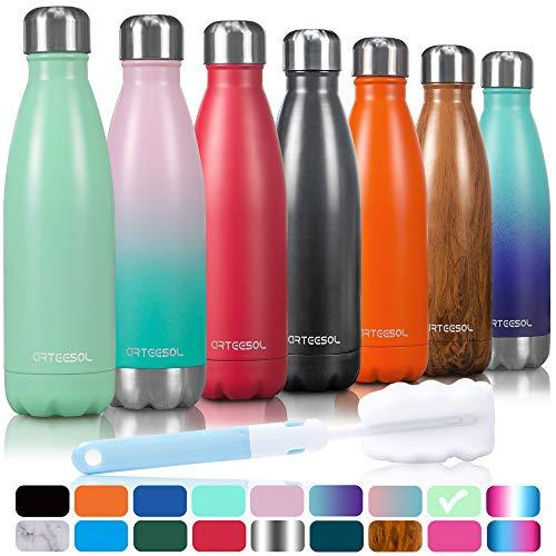 arteesol Trinkflasche, 350/500/750 ml Edelstahl Wasserflasche Doppelwandig Vakuumisoliert Water Bottle Schmaler Mund & BPA-frei für Outdoor-Sport Fitness Workout Camp & Office(Gras-Grün, 500ML)