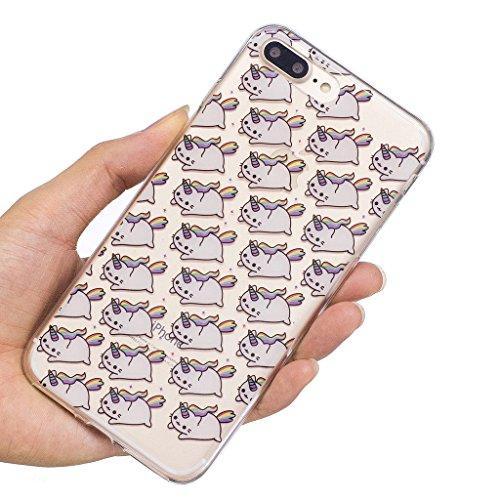 """Hülle für Apple iPhone 7 Plus , IJIA Transparente Niedlich Einhorn TPU Weich Silikon Stoßkasten Cover Handyhülle Schutzhülle Handytasche Schale Case Tasche für Apple iPhone 7 Plus (5.5"""") (WM111) WL1"""