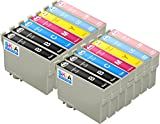 Pack de 14 Skia Cartouches d'encre Epson Expression Photo 24 XL T 2431 2432 2433 2434 2435 2436 XP 55 750 760 850 860 950 960 55 750 760 850 860 950 960