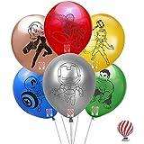 HK balloons Superhero Latex Balloon, Pack Of 30, Multicolour