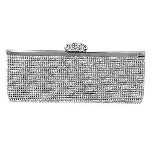 GSHGA Frauen-Abend-Handtasche Hochzeitspaket Brautbeutel Diamant-Handtasche Bankett Damentasche,Gold Silver