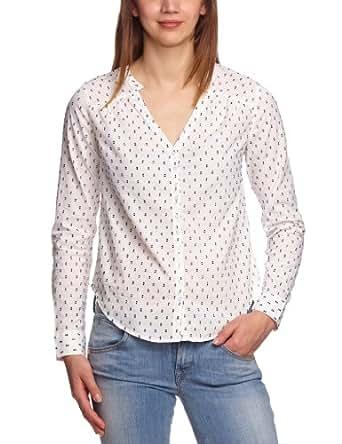VERO MODA Damen Bluse, gepunktet 10091442 DORITH L/S SHIRT, Gr. 38 (M), Mehrfarbig (SNOW WHITE / Detail:DOTS IN DARKVY)
