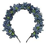 Trachtenland Diadema con Flores Ranya - Accesorios mágicos para el Cabello en el Festival de Bodas Dirndl Oktoberfest (Azul Oscuro)