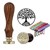 Mogoko Rosenholz achs Siegelstempel Stempel mit Gravur Baum des Lebens,incl. 10 Stangen Mix Farben Siegelwachs