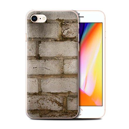 Stuff4 Hülle / Case für Apple iPhone 8 / Moos Grün Muster / Mauerwerk Kollektion Blass/Weiß