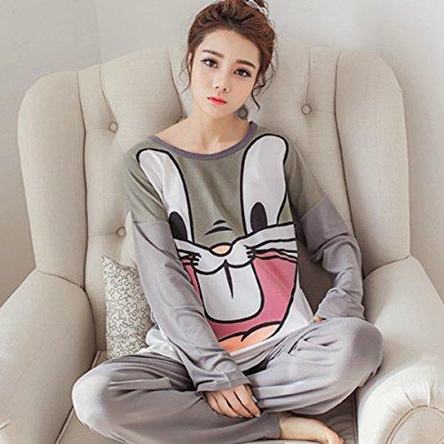 MH-RITA Newset Frau Pijama Set Cartoon Schlafanzug Herbst Winter Langarm süße Nachtwäsche junge Mädchen Pyjama Sets, Shi Da Hui ba Ge, (Bunny Bugs Kostüm Amazon)