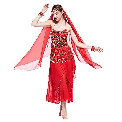 VENI MASEE Damen Bauchtanz Kostüm Set Sexy Kostüm Damen - Sechsteiliges Set - - Rotes Bauchtanz Kostüm